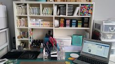 I think it's time for a craft room update. A few months ago, we had the great 'domino effect' furniture move. My son needed a desk, so we mo. Craft Room Organisation, Craft Room Storage, Storage Ideas, Scrapbook Storage, Scrapbook Organization, Craft Room Tables, Craft Rooms, Craft Room Design, Craft Supplies