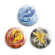 Legendary Bird Pinback Button Set - Articuno, Zapados, and Moltres - Product Available from BeeZeeArt.com