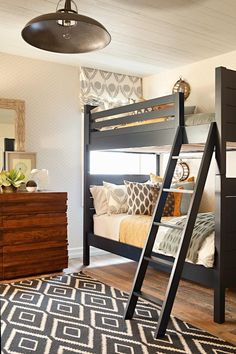 Favorite Things Friday -bunk bed as space saver, painted bed with wood dresser, and COLORS