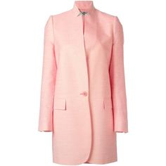 Stella McCartney Classic Blazer Coat ($687) ❤ liked on Polyvore featuring outerwear, coats, pink blazer, stella mccartney, stand collar coat, pink coat and blazer coat