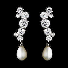 Stunning Freshwater Pearl and CZ Bridal Earrings