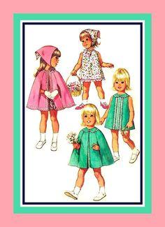 Vintage 1970- Toddler Girl Sewing Pattern- Five Styles- Rick Rack Dress…