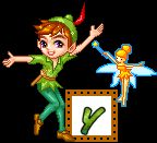 Alfabeto de Peter Pan y Tinkerbell con marco animado.   Oh my Alfabetos!