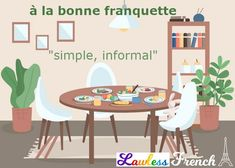 """It's not the most common #French expression, but if you do hear """"à la bonne franquette"""", it will probably be used in relation to food. #learnfrench #lawlessfrench French Expressions, 233, Color Vector, Dining Table In Kitchen, Flat Color, Potted Plants, Kids Rugs, Cartoon, Table Decorations"""