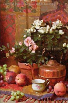 Azaleas and Peaches - Oil by Daniel J. Keys