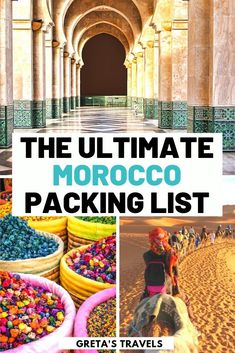 Planning a trip to Morocco and not sure what to wear in Morocco? This ultimate Morocco packing list covers everything you should pack for Morocco, including tops, bottoms, accessories and other useful extras. What to bring to Morocco Ultimate Packing List, Packing List For Travel, Packing Tips, Packing Checklist, Travelling Tips, Visit Morocco, Morocco Travel, Africa Travel, India Travel