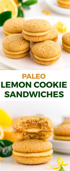 Lemon curd is sandwiched between soft and chewy paleo lemon cookies in this dairy-free treat! Lemon curd is sandwiched between soft and chewy paleo lemon cookies in this dairy-free treat! Paleo Dessert, Dessert Sans Gluten, Paleo Sweets, Healthy Dessert Recipes, Healthy Baking, Paleo Recipes, Gourmet Recipes, Baking Recipes, Healthy Lemon Recipes