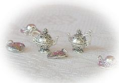 Silver Filigree Teapot Charms