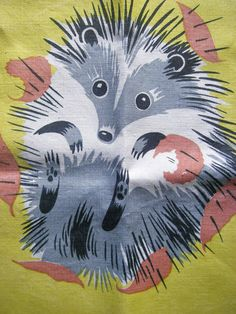 Set of Four Vintage Linen Napkins - Hedgehog! | eBay