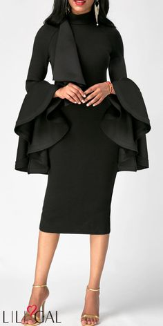 Long Party Dresses Flare Sleeve High Neck Black Skinny Dress - Winter is here, and with it the latest fashion trends Women's Fashion Dresses, Sexy Dresses, Casual Dresses, Dresses With Sleeves, Sleeve Dresses, Beautiful Dresses, Fashion Clothes, White Sheath Dress, Sheath Dresses