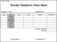 time sheet template - Google Search