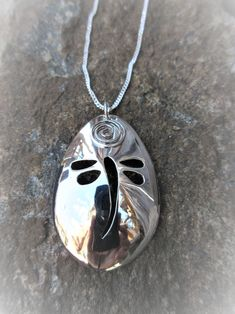 """Commissioned dragonfly pendant fashioned from a sterling silver spoon complete with circle of life swirl and strung on an 18"""" sterling curb link chain..."""