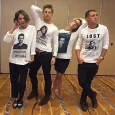 New pic of @Willaaaah @RickCosnett @EmilyBett and @ColtonLHaynes wearing each other's shirts #Arrow #TheFlash #SHC