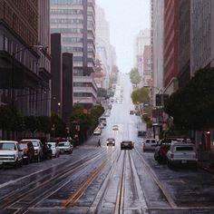 California Street in the Rain 2011 oil on panel 12inx12in by Greg Gandy