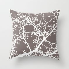 Magnolia Tree Taupe Brown Modern Branches Throw Pillow by Aldari Art Studio - $20.00