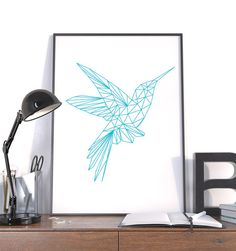 Large Geometric Print, Hummingbird Blue Instant Download Modern Wall Art