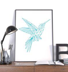 Large Geometric Print, Hummingbird Blue Instant Download Modern Wall Art