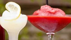 Perfect weather for Frozen Margaritas! Frozen Margaritas, Frozen Cocktails, Raspberry Margarita, Tequila Drinks, Frozen Strawberries, Strawberry Recipes, Beverages, Lime, Alcohol