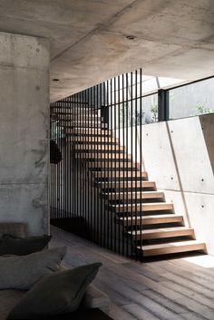"""The Australian based architectural and design studio Marcus Browne Architect has designed """"Vodka Palace"""" a concrete house that located in Cottesloe, Western Australia, Australia. Home Stairs Design, Railing Design, Stair Railing, House Design, Railings, Concrete Staircase, Stairs Architecture, Architecture Awards, Amazing Architecture"""