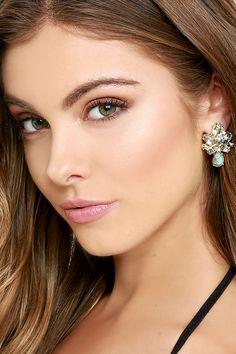 Pretty Gold and Turquoise Earrings - Rhinestone Earrings - $11.00