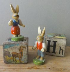 Vintage Wooden Toy Rabbits West Germany