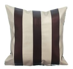 Alternating Choco - 16x16 Chocolate Brown color & Matte Cream Faux Leather Throw Pillow.