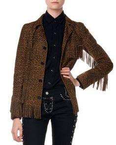 SAINT LAURENT Suede Fringed Leopard-Print Jacket. #saintlaurent #cloth #