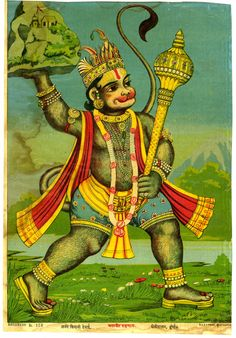 Hanuman fetching the herb-bearing mountain, in a print from the Ravi Varma Press, This painting depicts the magnificence of Hanuman, a prominent divine entity in Hinduism, and a major event in the Hindu epic Ramayana Indiana, Hanuman Chalisa, Mughal Paintings, Indian Prints, Shiva Shakti, Goddess Lakshmi, Hindu Art, Indian Gods, Gods And Goddesses
