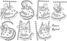 Tea Towel Embroidery 7311 Girls Cross Stitch by PatternRevival