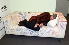 Sweet dreams. Chris Daughtry catches some z's at the Music Choice Play headquarters on Oct. 30 in New York