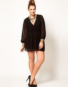 ASOS CURVE Exclusive Wrap Dress With Embellished Cuff. In LOVE with this dress! This would be so sexy with colored pumps and accessories —maybe gold.