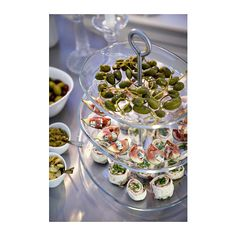 KVITTERA Serving platter, 3 tiers, clear glass, stainless steel