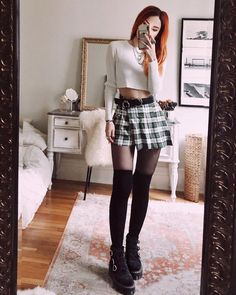 Plaid 🖤 would you add a biker jacket or a denim one? Grunge Outfits, Grunge Fashion, Trendy Outfits, Boho Fashion, Cool Outfits, Spring Fashion Outfits, Fall Winter Outfits, Alternative Outfits, Alternative Fashion