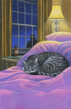 Mary Ann Lasher illustration for mystery novel pieces) Crazy Cat Lady, Crazy Cats, I Love Cats, Cute Cats, Gary Patterson, Cat Cards, Tier Fotos, Cat Drawing, Beautiful Cats