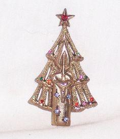 Vintage Gold Tone Metal Multicolor Rhinestone Candle Christmas Tree Pin Brooch