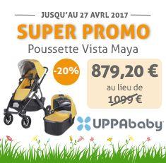 Connaissez la vous la super Poussette Vista Maya d'Uppababy ? Elle est ultra pratique pour un enfant seul ou deux enfants rapprochés et surtout, elle est en promo en ce moment sur le site de bambinou.com !