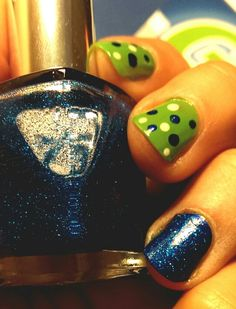 Seahawk nail art!! Seahawk nails