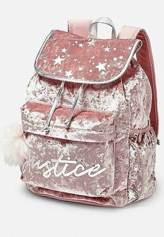 Shop the latest collection of Justice Velvet Logo Star Rucksack Begonia from the popular stores - all in one Cute Backpacks For School, Cute Mini Backpacks, Stylish Backpacks, Girl Backpacks, Justice Backpacks, Justice Bags, Fashion Bags, Fashion Backpack, Sacs Louis Vuiton