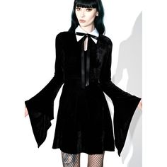 Killstar Stella Shadows Dress ($65) ❤ liked on Polyvore featuring dresses, flared skater skirt, long bell sleeve dress, long circle skirt, long dresses and long velvet dress