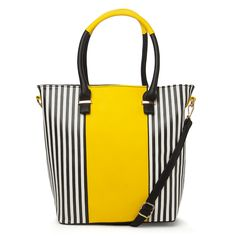 Condura - Striped Yellow, Black & White Tote Bag   Peter's of Kensington