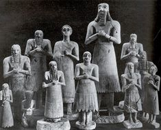 "SUMERIAN ART: Statues from the Abu Temple c. 2700 - 2500 B.C. Stone sculptures of deities. Tallest is 30"" high. Colored inlayed eyes. Bodies and faces simplified in order to avoid distracting attention from eyes. Arms and legs have roundness of pipes. Frontal, rigid and symmetrical like Egyptian art. LOCATION: IRAQ MUSEUM, BAGHDAD & THE ORIENTAL INSTITUTE, THE UNIVERSITY OF CHICAGO"
