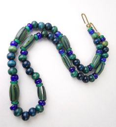 HANDCRAFTED CERAMIC GLASS beads, vintage necklace