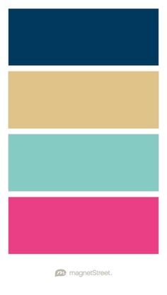 Navy, Gold, Custom Teal, and Custom Pink Wedding Color Palette - custom color palette created at MagnetStreet.com