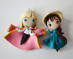 87 Gifts For Miyazaki Lovers That Will Spirit You Away Howl's Moving Castle Pendants Polymer Clay Dolls, Polymer Clay Miniatures, Polymer Clay Charms, Polymer Clay Jewelry, Cute Keychain, Keychains, Clay Studio, Howls Moving Castle, Anime Merchandise