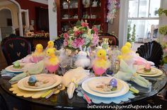 Easter Spring Table Setting, Tablescape  http://betweennapsontheporch.net/easter-table-setting-with-bunny-plates-and-baby-chicks/