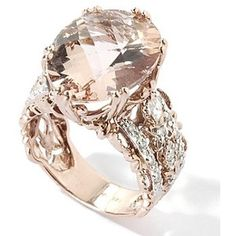 Rose Gold Peach Morganite & Diamond Ring