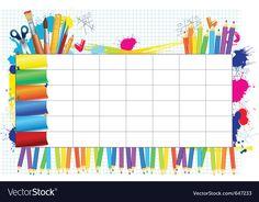 School timetable vector image on VectorStock Preschool Schedule, Kindergarten Activities, Kids Vector, Vector Free, Class Timetable, Timetable Template, Line Art Flowers, Boarder Designs, School Frame