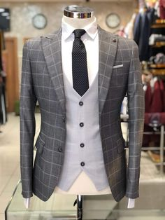 Collection: Fall – Winter Color Code: Gray Available Size: Suit Material: Wool , polyester Machine Washable: No Fitting: Slim-Fit Package Include: Suit Clothes Coat, Vest & Pants Mens Fashion Suits, Mens Suits, Grey Suit Men, Gray Suits, Mode Costume, Designer Suits For Men, Slim Suit, Stylish Mens Outfits, Fitted Suit
