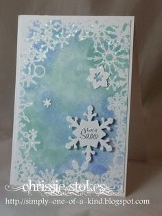 Simply One Of A Kind: Snow Here is a card made using a Memory Box stencil and some daubed ink. (SU Soft Sky and Bashful Blue) The additional snowflakes are from Sizzix dies