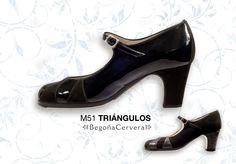 https://www.tamaraflamenco.com/es/zapatos-de-flamenco-profesionales-4 Zapato profesional de flamenco Begoña Cervera Modelo Triangulos charol y ante negro